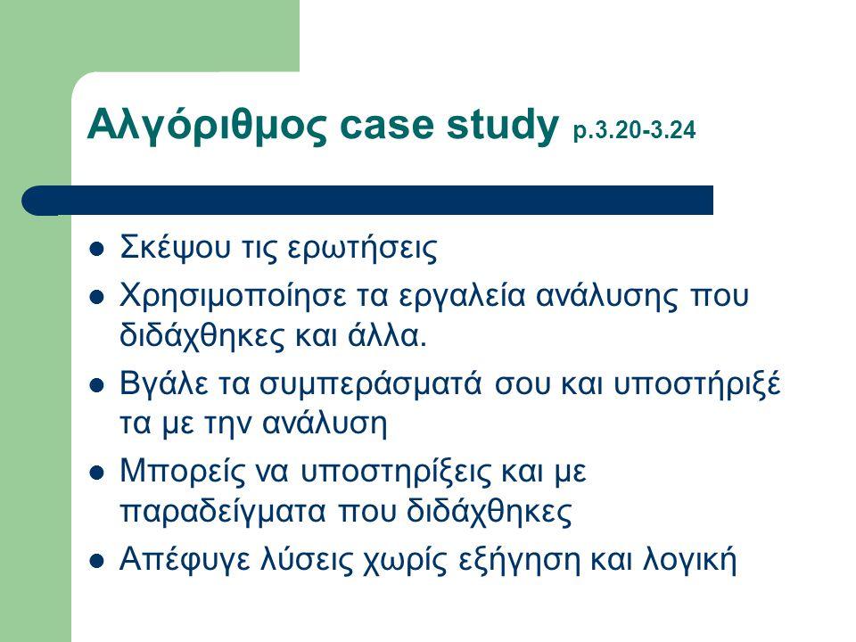 Αλγόριθμος case study p.3.20-3.24  Σκέψου τις ερωτήσεις  Χρησιμοποίησε τα εργαλεία ανάλυσης που διδάχθηκες και άλλα.