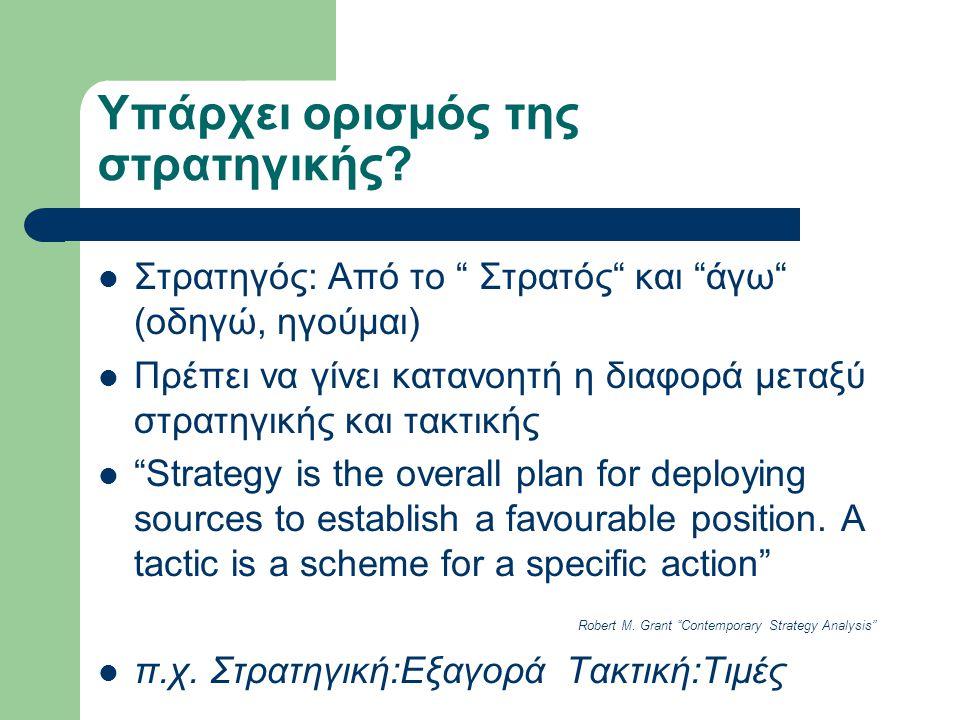 Υπάρχει ορισμός της στρατηγικής.
