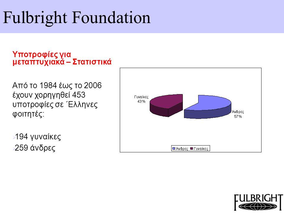 Fulbright Foundation Υποτροφίες για μεταπτυχιακά – Στατιστικά Από το 1984 έως το 2006 έχουν χορηγηθεί 453 υποτροφίες σε ΄Ελληνες φοιτητές:  194 γυναί