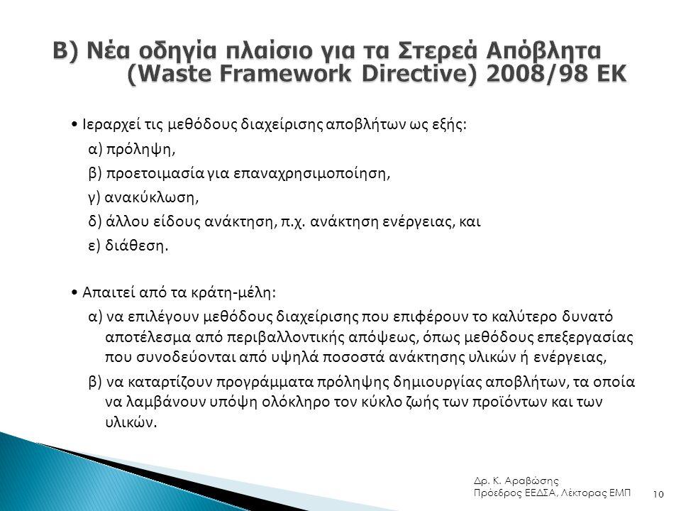 • Ιεραρχεί τις μεθόδους διαχείρισης αποβλήτων ως εξής: α) πρόληψη, β) προετοιμασία για επαναχρησιμοποίηση, γ) ανακύκλωση, δ) άλλου είδους ανάκτηση, π.χ.