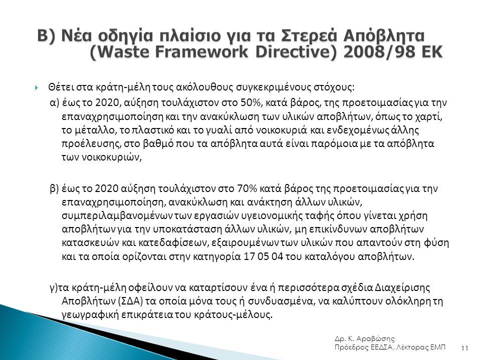  Θέτει στα κράτη-μέλη τους ακόλουθους συγκεκριμένους στόχους: α) έως το 2020, αύξηση τουλάχιστον στο 50%, κατά βάρος, της προετοιμασίας για την επαναχρησιμοποίηση και την ανακύκλωση των υλικών αποβλήτων, όπως το χαρτί, το μέταλλο, το πλαστικό και το γυαλί από νοικοκυριά και ενδεχομένως άλλης προέλευσης, στο βαθμό που τα απόβλητα αυτά είναι παρόμοια με τα απόβλητα των νοικοκυριών, β) έως το 2020 αύξηση τουλάχιστον στο 70% κατά βάρος της προετοιμασίας για την επαναχρησιμοποίηση, ανακύκλωση και ανάκτηση άλλων υλικών, συμπεριλαμβανομένων των εργασιών υγειονομικής ταφής όπου γίνεται χρήση αποβλήτων για την υποκατάσταση άλλων υλικών, μη επικίνδυνων αποβλήτων κατασκευών και κατεδαφίσεων, εξαιρουμένων των υλικών που απαντούν στη φύση και τα οποία ορίζονται στην κατηγορία 17 05 04 του καταλόγου αποβλήτων.