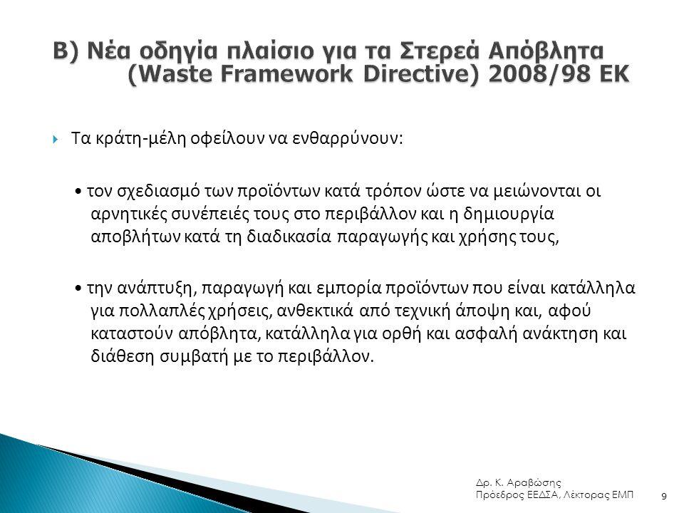  Τα κράτη-μέλη οφείλουν να ενθαρρύνουν: • τον σχεδιασμό των προϊόντων κατά τρόπον ώστε να μειώνονται οι αρνητικές συνέπειές τους στο περιβάλλον και η δημιουργία αποβλήτων κατά τη διαδικασία παραγωγής και χρήσης τους, • την ανάπτυξη, παραγωγή και εμπορία προϊόντων που είναι κατάλληλα για πολλαπλές χρήσεις, ανθεκτικά από τεχνική άποψη και, αφού καταστούν απόβλητα, κατάλληλα για ορθή και ασφαλή ανάκτηση και διάθεση συμβατή με το περιβάλλον.