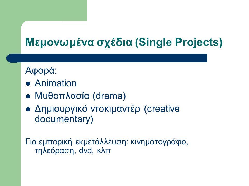Υποστήριξη για μεμονωμένα σχέδια (Single projects) → Ποσά επιδότησης  Υποστήριξη MEDIA: 10.000€ - 60.000€ (80.000€ για κινούμενα σχέδια μεγάλου μήκους που προορίζονται για κινηματογραφική διανομή) .