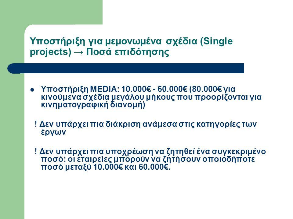 Υποστήριξη για μεμονωμένα σχέδια (Single projects) → Προηγούμενη εμπειρία  Οι εταιρίες που υποβάλουν αίτηση πρέπει να αποδείξουν ότι έχουν ολοκληρώσει ένα προηγούμενο έργο ως κύριοι παραγωγοί (major producer) και ότι αυτή η δουλειά έχει διανεμηθεί στην περίοδο από 1 Ιανουαρίου 2005 έως την ημερομηνία υποβολής της αίτησης