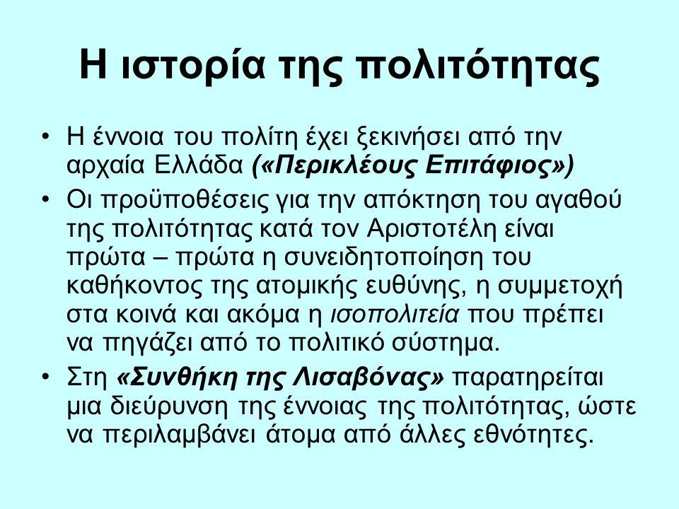Η ιστορία της πολιτότητας •Η έννοια του πολίτη έχει ξεκινήσει από την αρχαία Ελλάδα («Περικλέους Επιτάφιος») •Οι προϋποθέσεις για την απόκτηση του αγα