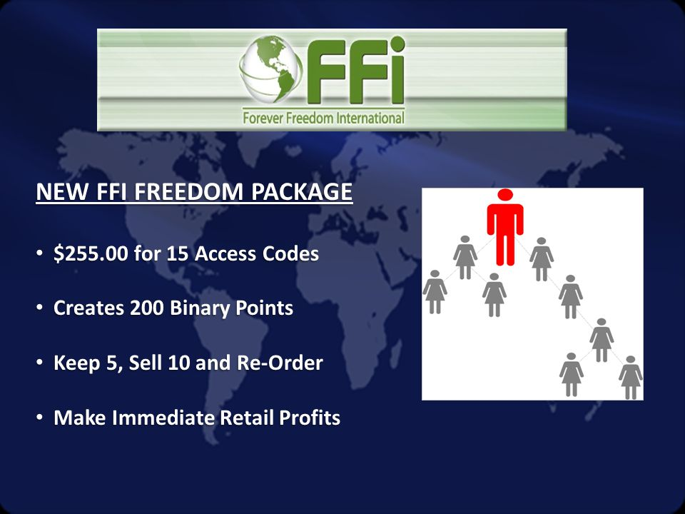 NEW FFI FREEDOM PACKAGE • $255.00 for 15 Access Codes • Creates 200 Binary Points • Keep 5, Sell 10 and Re-Order • Make Immediate Retail Profits