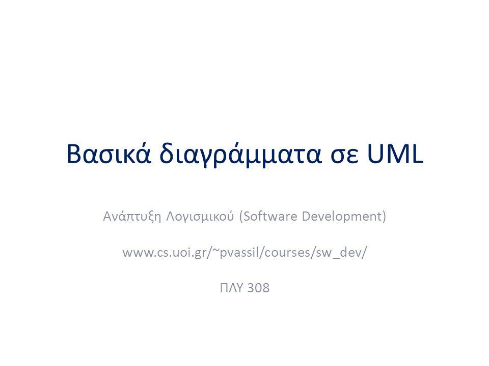 Βασικά διαγράμματα σε UML Ανάπτυξη Λογισμικού (Software Development) www.cs.uoi.gr/~pvassil/courses/sw_dev/ ΠΛΥ 308