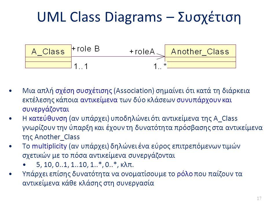 UML Class Diagrams – Συσχέτιση •Μια απλή σχέση συσχέτισης (Association) σημαίνει ότι κατά τη διάρκεια εκτέλεσης κάποια αντικείμενα των δύο κλάσεων συν