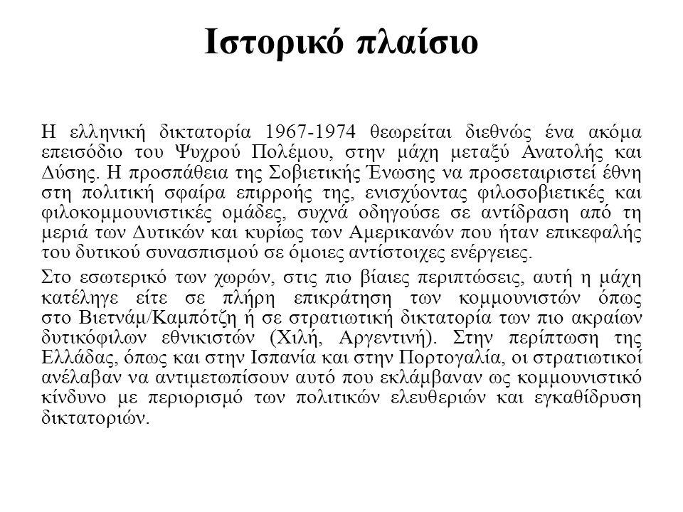 Ιστορικό πλαίσιο Η ελληνική δικτατορία 1967-1974 θεωρείται διεθνώς ένα ακόμα επεισόδιο του Ψυχρού Πολέμου, στην μάχη μεταξύ Ανατολής και Δύσης. Η προσ