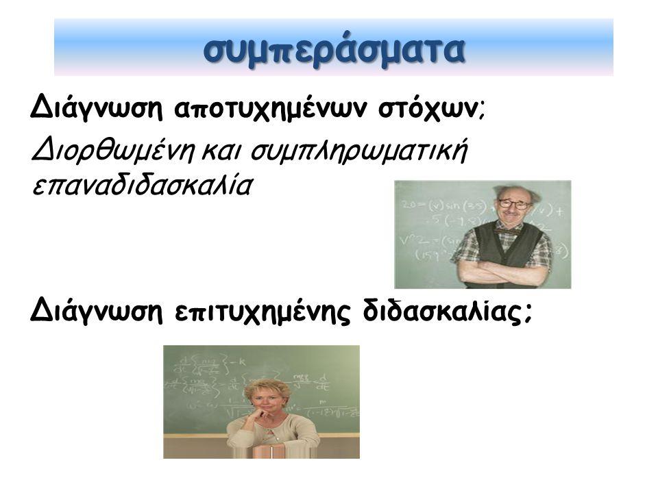 συμπεράσματα Διάγνωση αποτυχημένων στόχων; Διορθωμένη και συμπληρωματική επαναδιδασκαλία Διάγνωση επιτυχημένης διδασκαλίας;