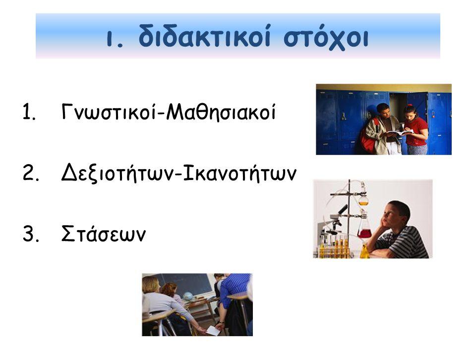 ι. διδακτικοί στόχοι 1.Γνωστικοί-Μαθησιακοί 2.Δεξιοτήτων-Ικανοτήτων 3.Στάσεων
