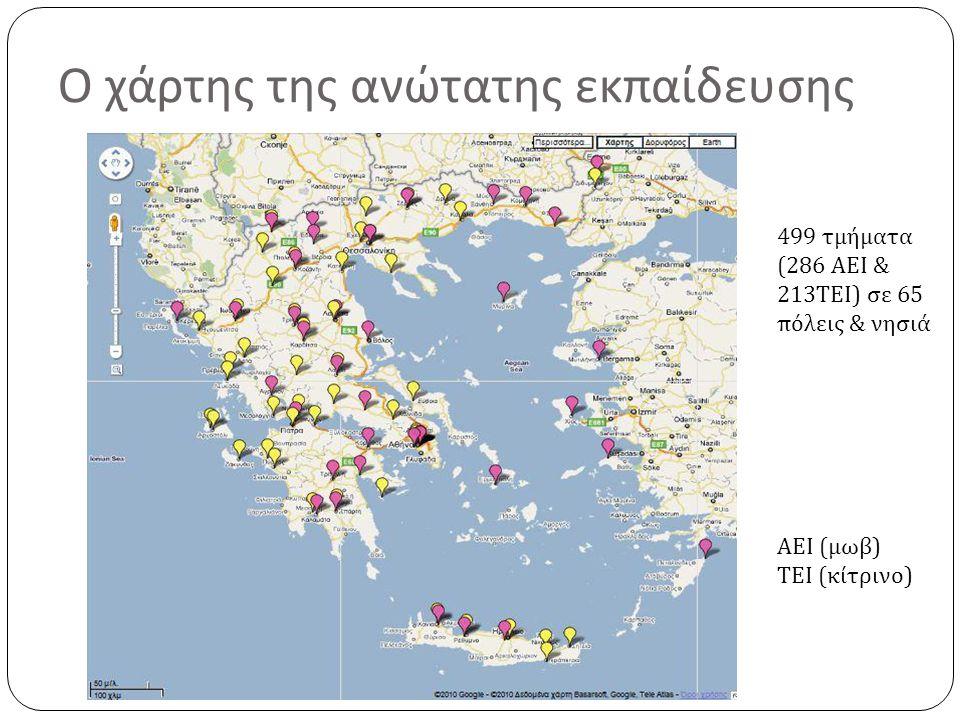 Ο χάρτης της ανώτατης εκπαίδευσης ΑΕΙ ( μωβ ) ΤΕΙ ( κίτρινο ) 499 τμήματα (286 ΑΕΙ & 213 ΤΕΙ ) σε 65 πόλεις & νησιά