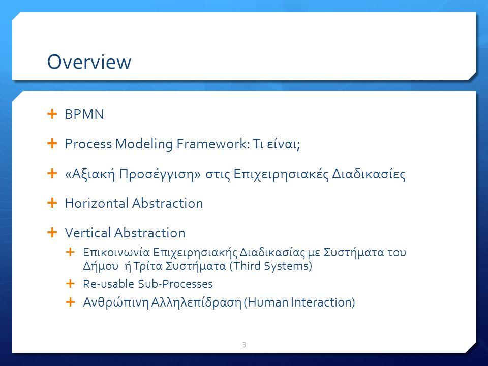 PM Framework: Μεθοδολογία – 3 stages  Stage 1: Καταγραφή και μοντελοποίηση της αλληλουχίας δραστηριοτήτων χρησιμοποιώντας τον φορμαλισμό BPMN (Business Process Modeling Notation )  Stage 2: Νέα έκδοση του παραπάνω μοντέλου -- Περιέχει το «επίπεδο BPMS» με ρόλο «ενορχήστρωσης» ρόλων και τρίτων συστημάτων (και μερικούς άλλους φορμαλισμούς)  Stage 3: Παραγωγή του τελικού μοντέλου -- Περιέχει «execution details» (εκτελέσιμη μορφή της σε BPMN / περιλαμβάνει τα βήματα που το Σύστημα BPMS εκτελεί) 14
