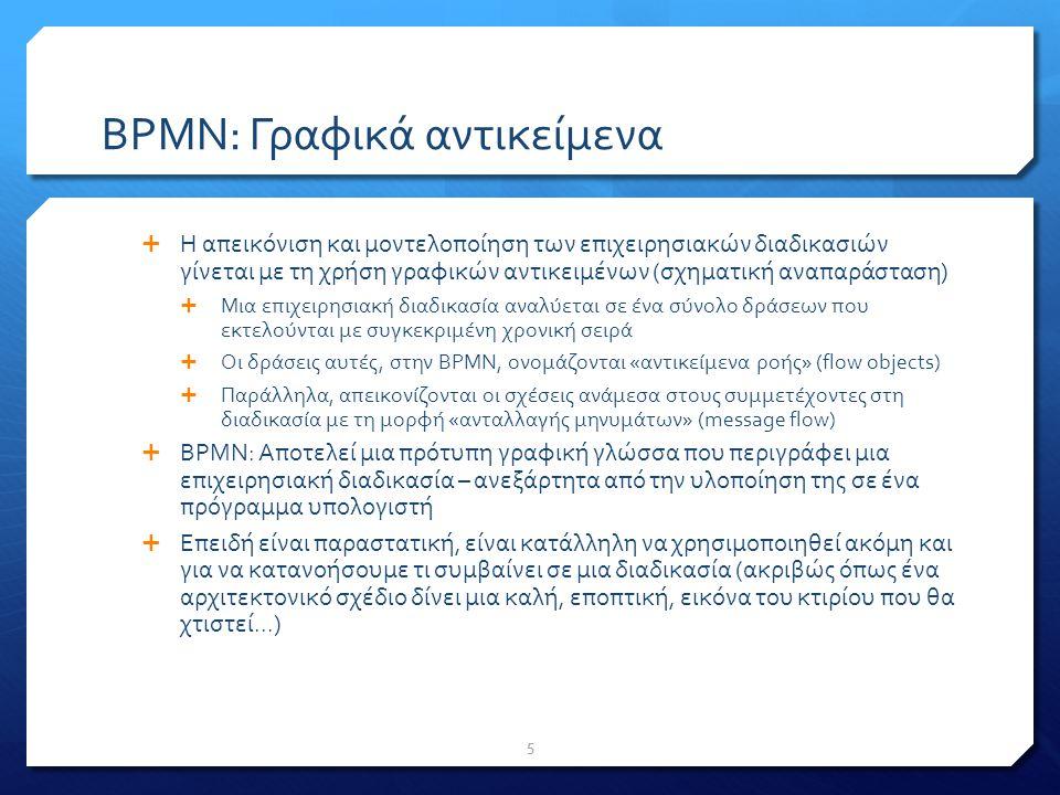 BPMN: Η βάση εκκίνησης  Υπάρχουν 3 είδη αντικειμένων ροής (flow objects)  Συμβάν (Event)  Δραστηριότητα (Activity)  Πύλη Ελέγχου (Gateway)  Υπάρχουν 3 τρόποι σύνδεσης των αντικειμένων ροής  Sequence Flow  Message Flow  Association 6