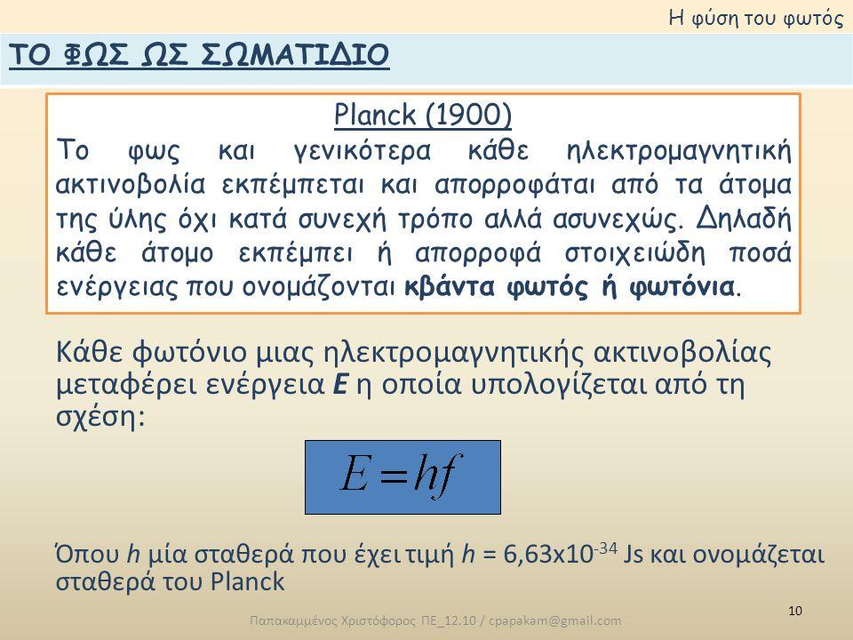 10 Παπακαμμένος Χριστόφορος ΠΕ_12.10 / cpapakam@gmail.com Η φύση του φωτός Planck (1900) Το φως και γενικότερα κάθε ηλεκτρομαγνητική ακτινοβολία εκπέμπεται και απορροφάται από τα άτομα της ύλης όχι κατά συνεχή τρόπο αλλά ασυνεχώς.