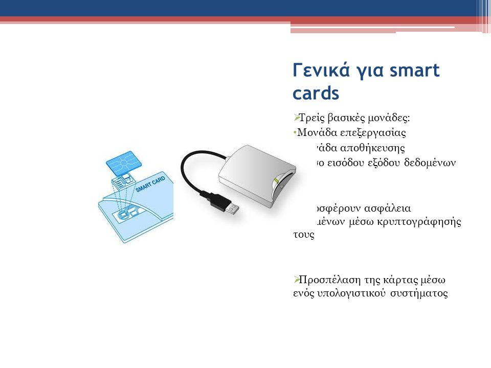 Γενικά για smart cards  Τρείς βασικές μονάδες: • Μονάδα επεξεργασίας • Μονάδα αποθήκευσης • Μέσο εισόδου εξόδου δεδομένων  Προσφέρουν ασφάλεια δεδομ