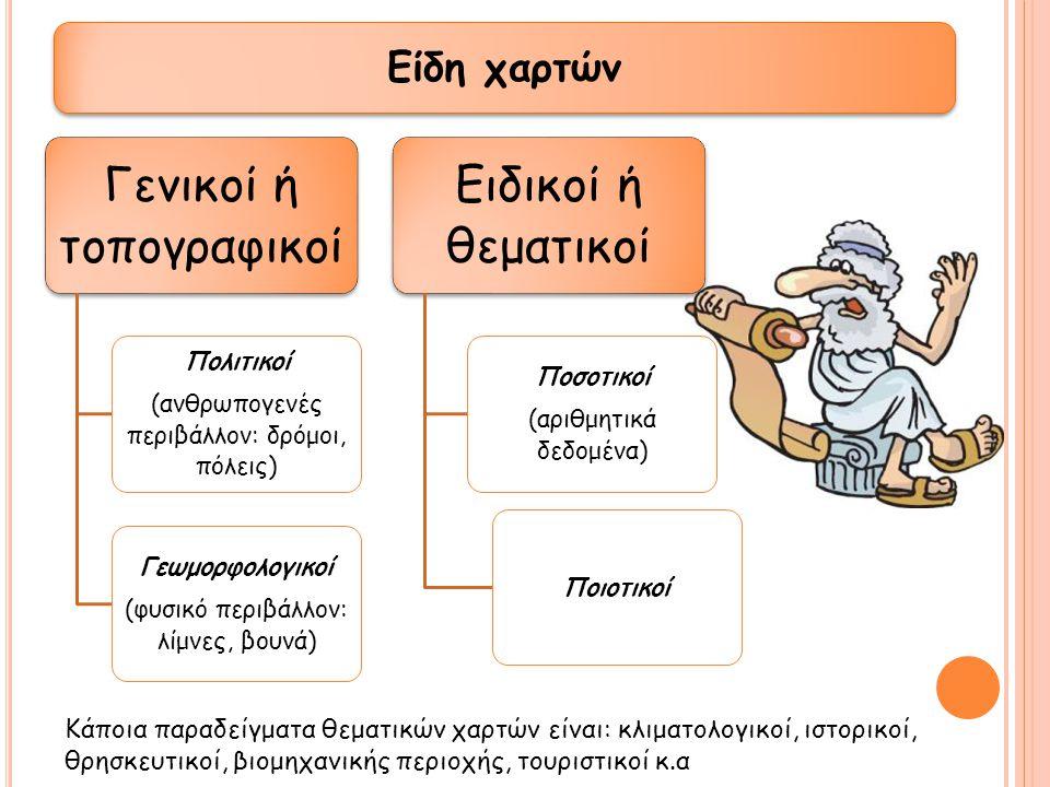 Γενικοί ή τοπογραφικοί Πολιτικοί (ανθρωπογενές περιβάλλον: δρόμοι, πόλεις) Γεωμορφολογικοί (φυσικό περιβάλλον: λίμνες, βουνά) Ειδικοί ή θεματικοί Ποσο
