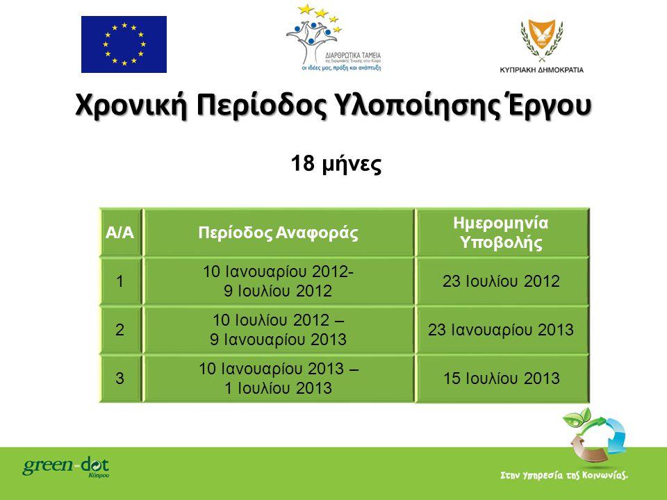 Χρονική Περίοδος Υλοποίησης Έργου 18 μήνες Α/ΑΠερίοδος Αναφοράς Hμερομηνία Υποβολής 1 10 Ιανουαρίου 2012- 9 Ιουλίου 2012 23 Ιουλίου 2012 2 10 Ιουλίου