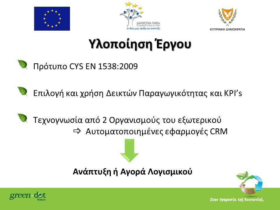 Υλοποίηση Έργου Πρότυπο CYS EN 1538:2009 Επιλογή και χρήση Δεικτών Παραγωγικότητας και ΚΡΙ's Tεχνογνωσία από 2 Οργανισμούς του εξωτερικού  Αυτοματοποιημένες εφαρμογές CRM Ανάπτυξη ή Αγορά Λογισμικού