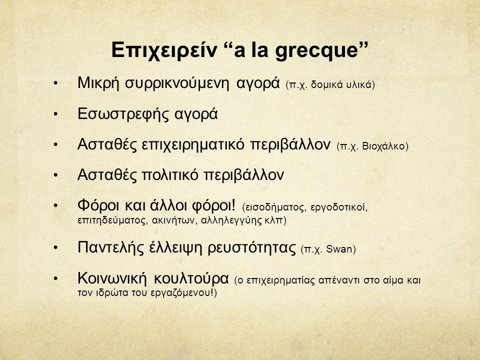 """Επιχειρείν """"a la grecque"""" • Μικρή συρρικνούμενη αγορά (π.χ. δομικά υλικά) • Εσωστρεφής αγορά • Ασταθές επιχειρηματικό περιβάλλον (π.χ. Βιοχάλκο) • Αστ"""