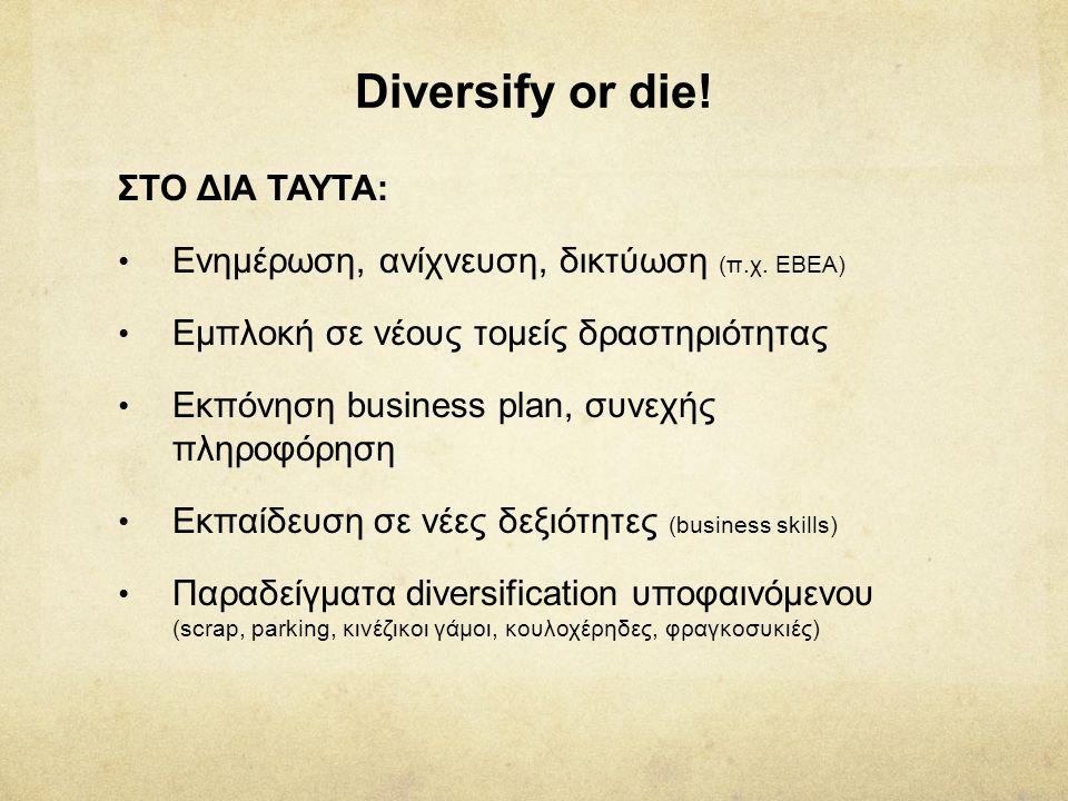 Diversify or die! ΣΤΟ ΔΙΑ ΤΑΥΤΑ: • Ενημέρωση, ανίχνευση, δικτύωση (π.χ. ΕΒΕΑ) • Εμπλοκή σε νέους τομείς δραστηριότητας • Εκπόνηση business plan, συνεχ