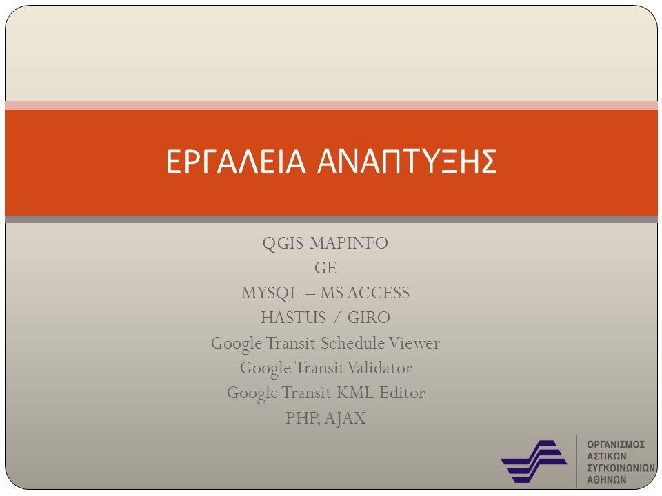 QGIS-MAPINFO GE MYSQL – MS ACCESS HASTUS / GIRO Google Transit Schedule Viewer Google Transit Validator Google Transit KML Editor PHP, AJAX ΕΡΓΑΛΕΙΑ A