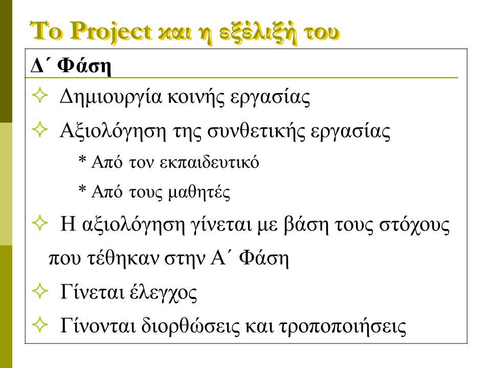 To Project και η εξέλιξή του Δ΄ Φάση  Δημιουργία κοινής εργασίας  Αξιολόγηση της συνθετικής εργασίας * Από τον εκπαιδευτικό * Από τους μαθητές  Η α