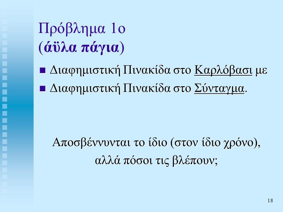 18 Πρόβλημα 1ο (άϋλα πάγια)  Διαφημιστική Πινακίδα στο Καρλόβασι με  Διαφημιστική Πινακίδα στο Σύνταγμα.