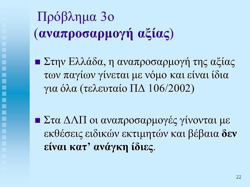 22 Πρόβλημα 3ο (αναπροσαρμογή αξίας)  Στην Ελλάδα, η αναπροσαρμογή της αξίας των παγίων γίνεται με νόμο και είναι ίδια για όλα (τελευταίο ΠΔ 106/2002)  Στα ΔΛΠ οι αναπροσαρμογές γίνονται με εκθέσεις ειδικών εκτιμητών και βέβαια δεν είναι κατ' ανάγκη ίδιες.