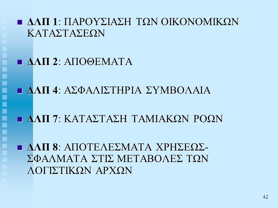 42  ΔΛΠ 1: ΠΑΡΟΥΣΙΑΣΗ ΤΩΝ ΟΙΚΟΝΟΜΙΚΩΝ ΚΑΤΑΣΤΑΣΕΩΝ  ΔΛΠ 2: ΑΠΟΘΕΜΑΤΑ  ΔΛΠ 4: ΑΣΦΑΛΙΣΤΗΡΙΑ ΣΥΜΒΟΛΑΙΑ  ΔΛΠ 7: ΚΑΤΑΣΤΑΣΗ ΤΑΜΙΑΚΩΝ ΡΟΩΝ  ΔΛΠ 8: ΑΠΟΤΕΛΕΣΜΑΤΑ ΧΡΗΣΕΩΣ- ΣΦΑΛΜΑΤΑ ΣΤΙΣ ΜΕΤΑΒΟΛΕΣ ΤΩΝ ΛΟΓΙΣΤΙΚΩΝ ΑΡΧΩΝ