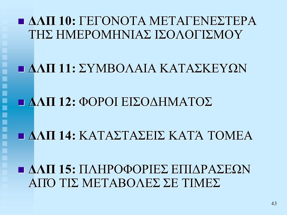 43  ΔΛΠ 10: ΓΕΓΟΝΟΤΑ ΜΕΤΑΓΕΝΕΣΤΕΡΑ ΤΗΣ ΗΜΕΡΟΜΗΝΙΑΣ ΙΣΟΛΟΓΙΣΜΟΥ  ΔΛΠ 11: ΣΥΜΒΟΛΑΙΑ ΚΑΤΑΣΚΕΥΩΝ  ΔΛΠ 12: ΦΟΡΟΙ ΕΙΣΟΔΗΜΑΤΟΣ  ΔΛΠ 14: ΚΑΤΑΣΤΑΣΕΙΣ ΚΑΤΆ ΤΟΜΕΑ  ΔΛΠ 15: ΠΛΗΡΟΦΟΡΙΕΣ ΕΠΙΔΡΑΣΕΩΝ ΑΠΌ ΤΙΣ ΜΕΤΑΒΟΛΕΣ ΣΕ ΤΙΜΕΣ