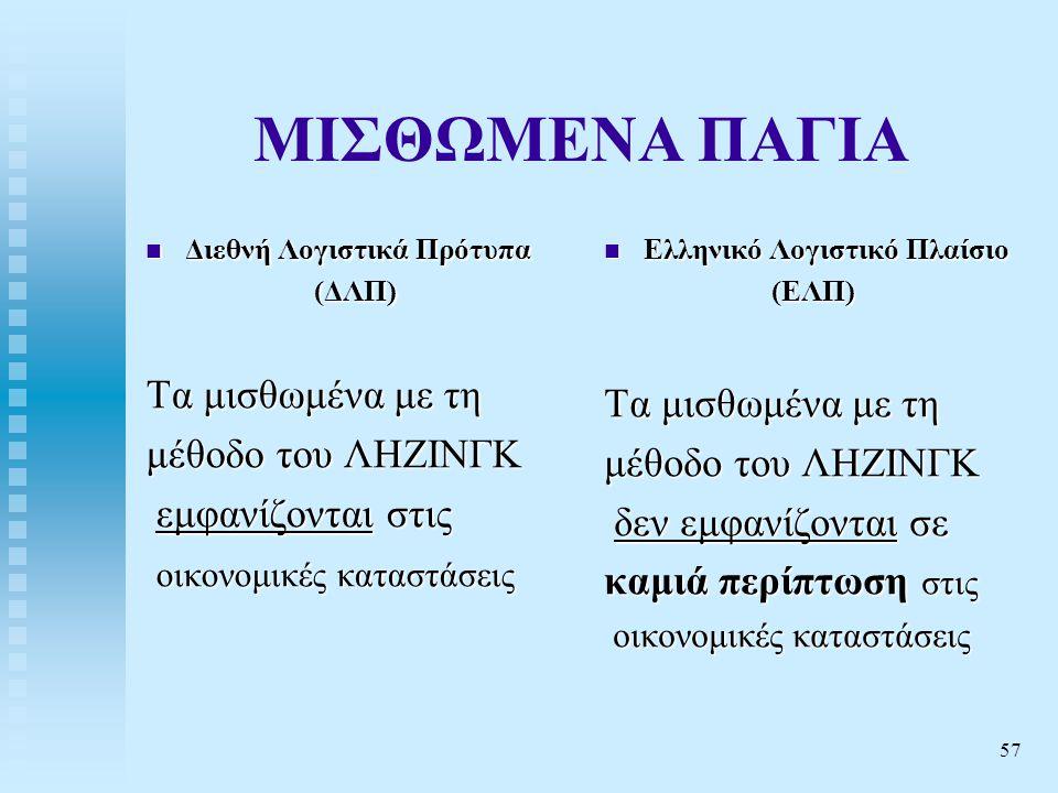 57 ΜΙΣΘΩΜΕΝΑ ΠΑΓΙΑ  Διεθνή Λογιστικά Πρότυπα (ΔΛΠ) Τα μισθωμένα με τη μέθοδο του ΛΗΖΙΝΓΚ εμφανίζονται στις εμφανίζονται στις οικονομικές καταστάσεις οικονομικές καταστάσεις  Ελληνικό Λογιστικό Πλαίσιο (ΕΛΠ) Τα μισθωμένα με τη μέθοδο του ΛΗΖΙΝΓΚ δεν εμφανίζονται σε καμιά περίπτωση στις οικονομικές καταστάσεις