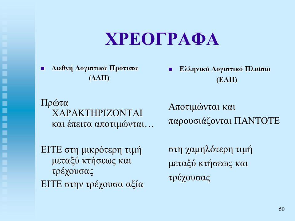 60 ΧΡΕΟΓΡΑΦΑ  Διεθνή Λογιστικά Πρότυπα (ΔΛΠ) Πρώτα ΧΑΡΑΚΤΗΡΙΖΟΝΤΑΙ και έπειτα αποτιμώνται… ΕΙΤΕ στη μικρότερη τιμή μεταξύ κτήσεως και τρέχουσας ΕΙΤΕ στην τρέχουσα αξία  Ελληνικό Λογιστικό Πλαίσιο (ΕΛΠ) Αποτιμώνται και παρουσιάζονται ΠΑΝΤΟΤΕ στη χαμηλότερη τιμή μεταξύ κτήσεως και τρέχουσας
