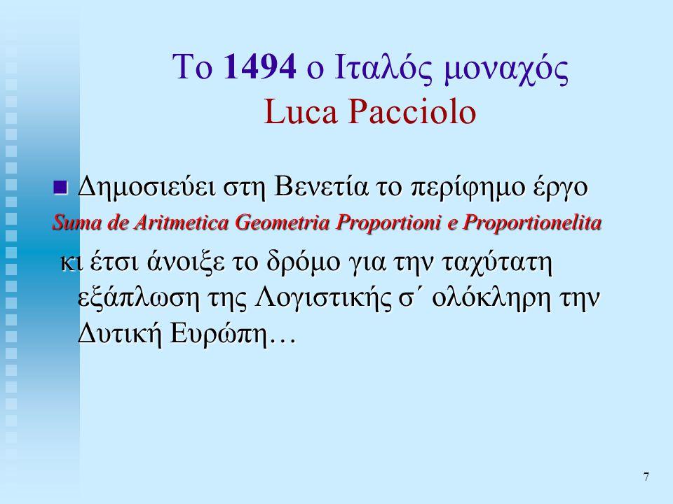 7 Το 1494 ο Ιταλός μοναχός Luca Pacciolo  Δημοσιεύει στη Βενετία το περίφημο έργο Suma de Aritmetica Geometria Proportioni e Proportionelita κι έτσι άνοιξε το δρόμο για την ταχύτατη εξάπλωση της Λογιστικής σ΄ ολόκληρη την Δυτική Ευρώπη… κι έτσι άνοιξε το δρόμο για την ταχύτατη εξάπλωση της Λογιστικής σ΄ ολόκληρη την Δυτική Ευρώπη…