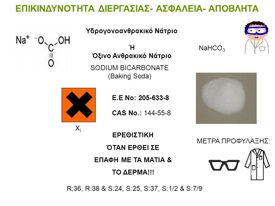 ΕΠΙΚΙΝΔΥΝΟΤΗΤΑ ΔΙΕΡΓΑΣΙΑΣ- ΑΣΦΑΛΕΙΑ- ΑΠΟΒΛΗΤΑ CAS No.: 497-19-8 Ε.Ε Νο: 207-838-8 Risk: R 36 & Safety: S 22 & S 26 Ανθρακικό Νάτριο-Νa 2 CO 3- Η ανθρα