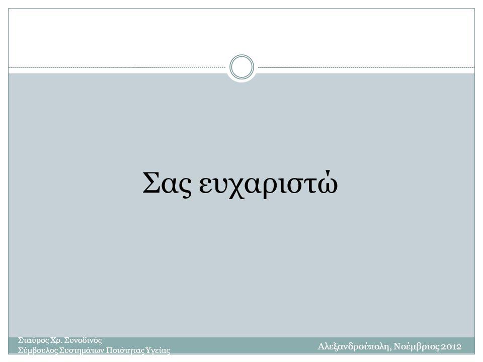Σας ευχαριστώ Σταύρος Χρ. Συνοδινός Σύμβουλος Συστημάτων Ποιότητας Υγείας Αλεξανδρούπολη, Νοέμβριος 2012