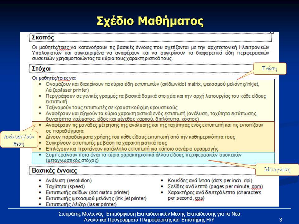 3 Σωκράτης Μυλωνάς: Επιμόρφωση Εκπαιδευτικών Μέσης Εκπαίδευσης για τα Νέα Αναλυτικά Προγράμματα Πληροφορικής και Επιστήμης Η/Υ Σχέδιο Μαθήματος Γνώση Ανάλυση/σύν θεση Μεταγνώση