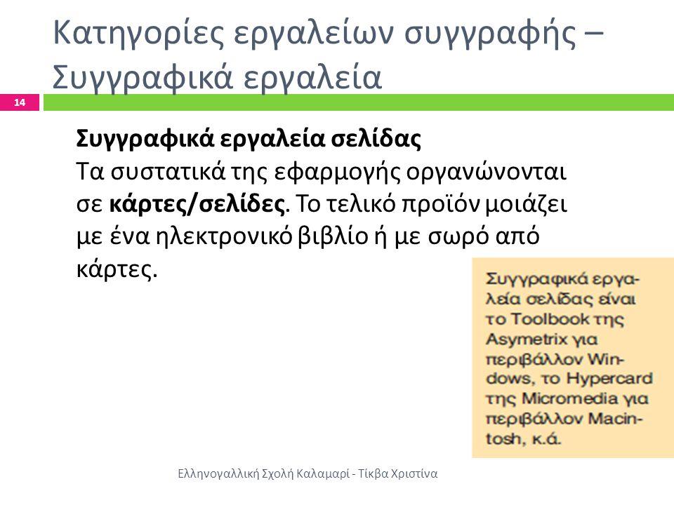 Κατηγορίες εργαλείων συγγραφής – Συγγραφικά εργαλεία Ελληνογαλλική Σχολή Καλαμαρί - Τίκβα Χριστίνα 14 Συγγραφικά εργαλεία σελίδας Τα συστατικά της εφαρμογής οργανώνονται σε κάρτες / σελίδες.