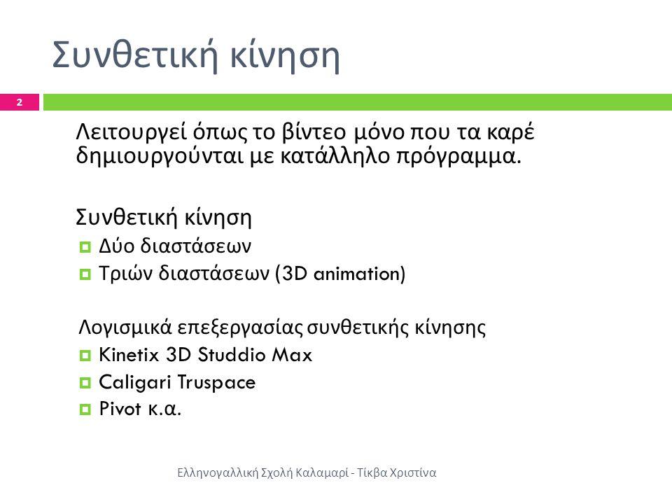 Συνθετική κίνηση Ελληνογαλλική Σχολή Καλαμαρί - Τίκβα Χριστίνα 2 Λειτουργεί όπως το βίντεο μόνο που τα καρέ δημιουργούνται με κατάλληλο πρόγραμμα.