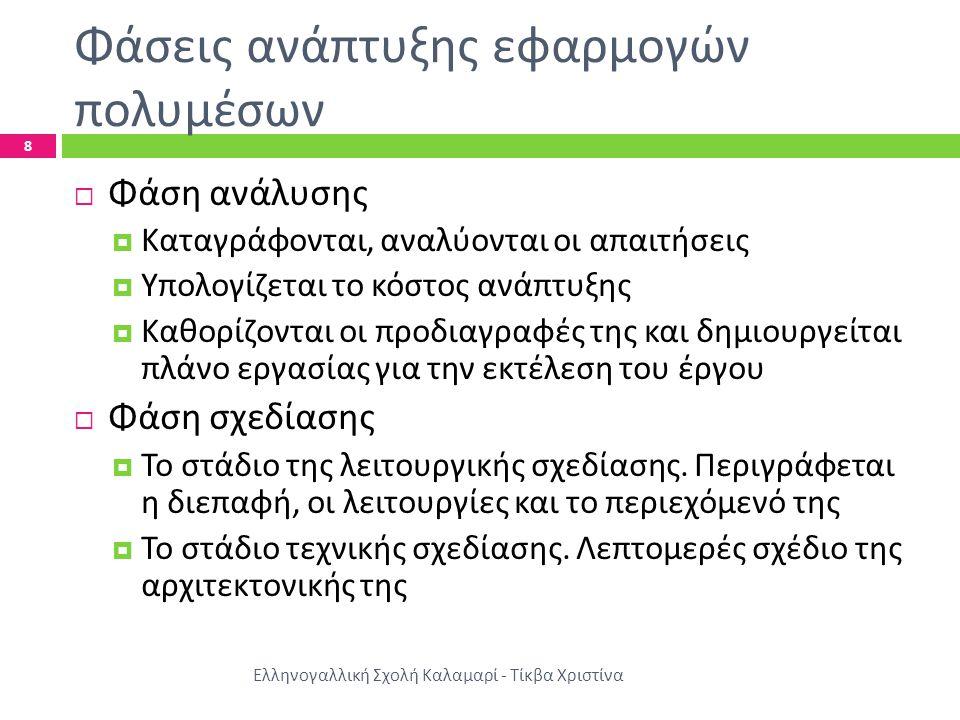 Φάσεις ανάπτυξης εφαρμογών πολυμέσων ΙΙ Ελληνογαλλική Σχολή Καλαμαρί - Τίκβα Χριστίνα 9  Φάση υλοποίησης  Συγγραφή κώδικα  Συγκέντρωση, δημιουργία και επεξεργασία δομικών στοιχειών  Κατάλληλες δοκιμές Οι εργασίες αυτές γίνονται σε στάδια οπότε προκύπτουν διάφορες εκδόσεις