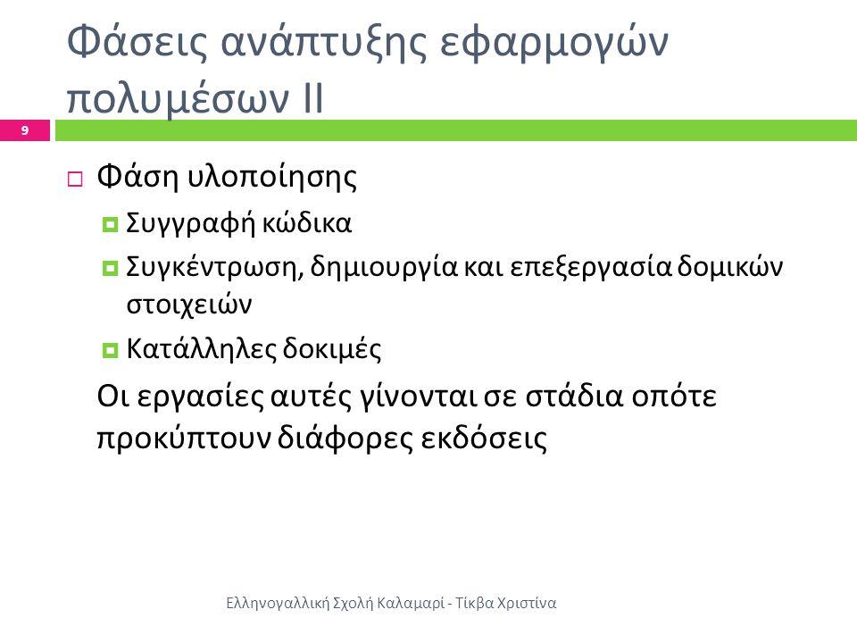 Φάσεις ανάπτυξης εφαρμογών πολυμέσων ΙΙΙ Ελληνογαλλική Σχολή Καλαμαρί - Τίκβα Χριστίνα 10  Φάση ολοκλήρωσης  Τρόποι προστασίας της εφαρμογής  Δημιουργία προγράμματος εγκατάστασης – απεγκατάστασης  Μαζική αναπαραγωγή του προϊόντος  Φάση λειτουργίας και συντήρησης  Επέκταση ή βελτίωση  Διόρθωση προβλημάτων