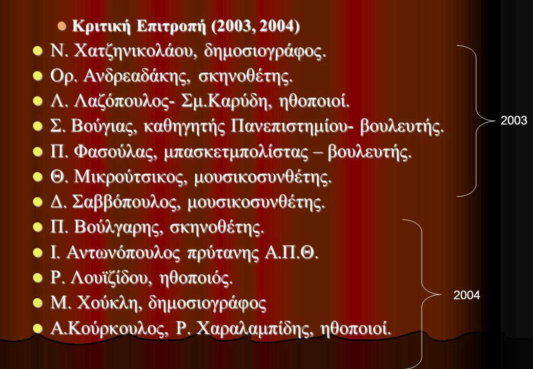  Κριτική Επιτροπή (2003, 2004)  Ν. Χατζηνικολάου, δημοσιογράφος.  Ορ. Ανδρεαδάκης, σκηνοθέτης.  Λ. Λαζόπουλος- Σμ.Καρύδη, ηθοποιοί.  Σ. Βούγιας,