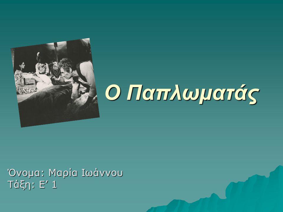 Ο Παπλωματάς Όνομα: Μαρία Ιωάννου Τάξη: Ε' 1