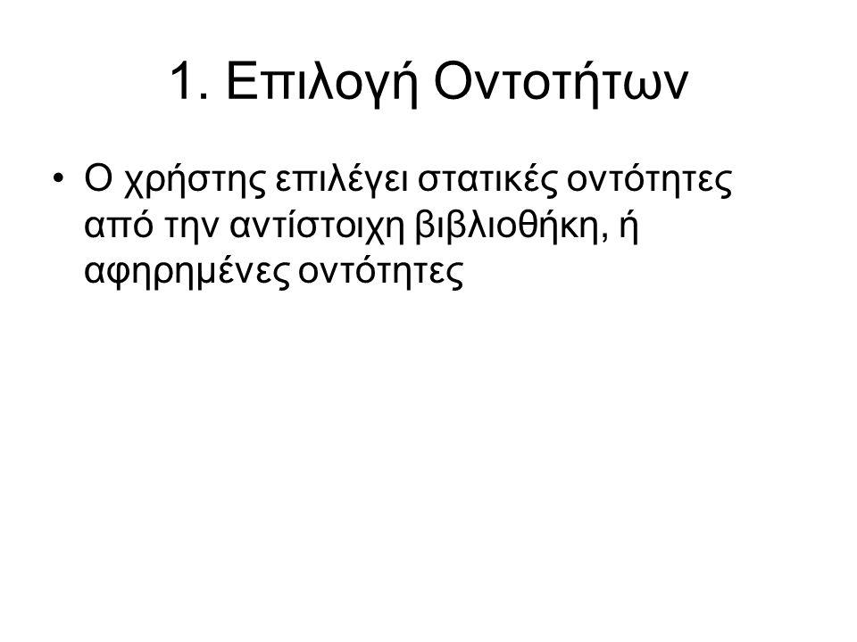 1. Επιλογή Οντοτήτων •Ο χρήστης επιλέγει στατικές οντότητες από την αντίστοιχη βιβλιοθήκη, ή αφηρημένες οντότητες