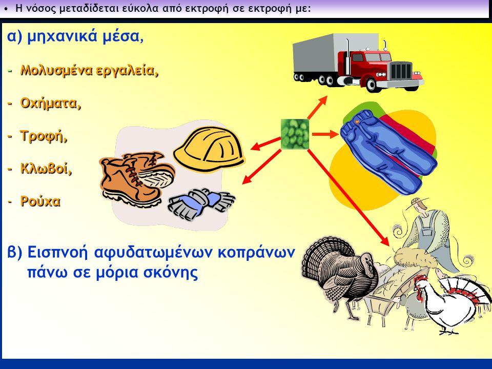 4 α) μηχανικά μέσα, - Μολυσμένα εργαλεία, - Οχήματα, - Tροφή, - Kλωβοί, - Ρούχα β) Εισπνοή αφυδατωμένων κοπράνων πάνω σε μόρια σκόνης • Η νόσος μεταδί