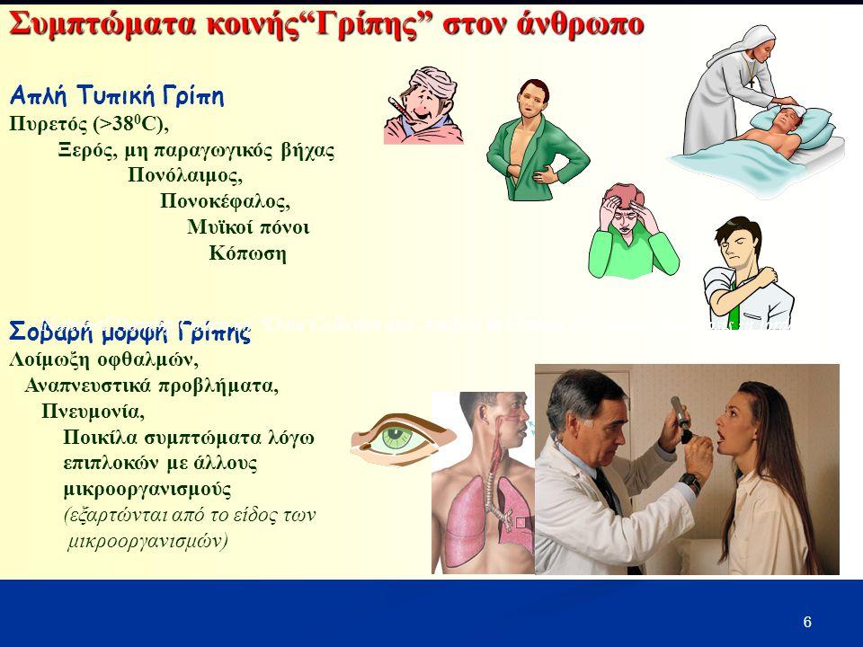 """6 Συμπτώματα κοινής""""Γρίπης"""" στον άνθρωπο Απλή Τυπική Γρίπη Πυρετός (>38 0 C), Ξερός, μη παραγωγικός βήχας Πονόλαιμος, Πονοκέφαλος, Μυϊκοί πόνοι Κόπωση"""