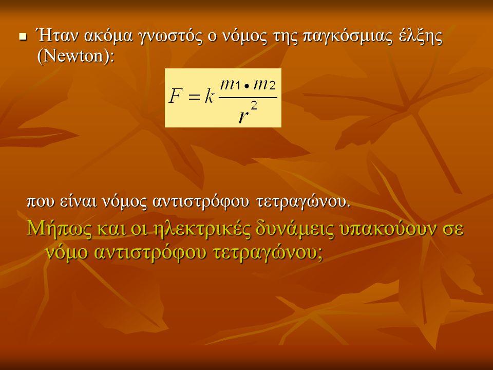  Ήταν ακόμα γνωστός ο νόμος της παγκόσμιας έλξης (Newton): που είναι νόμος αντιστρόφου τετραγώνου. Μήπως και οι ηλεκτρικές δυνάμεις υπακούουν σε νόμο