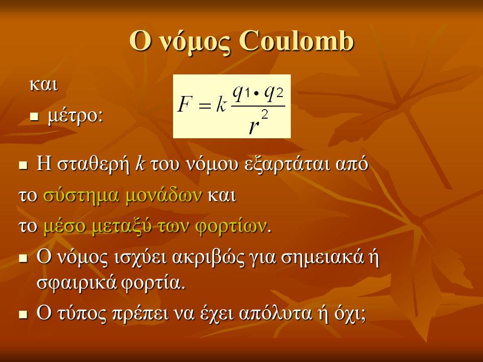 Ο νόμος Coulomb και  μέτρο:  Η σταθερή k του νόμου εξαρτάται από το σύστημα μονάδων και το μέσο μεταξύ των φορτίων.  Ο νόμος ισχύει ακριβώς για σημ