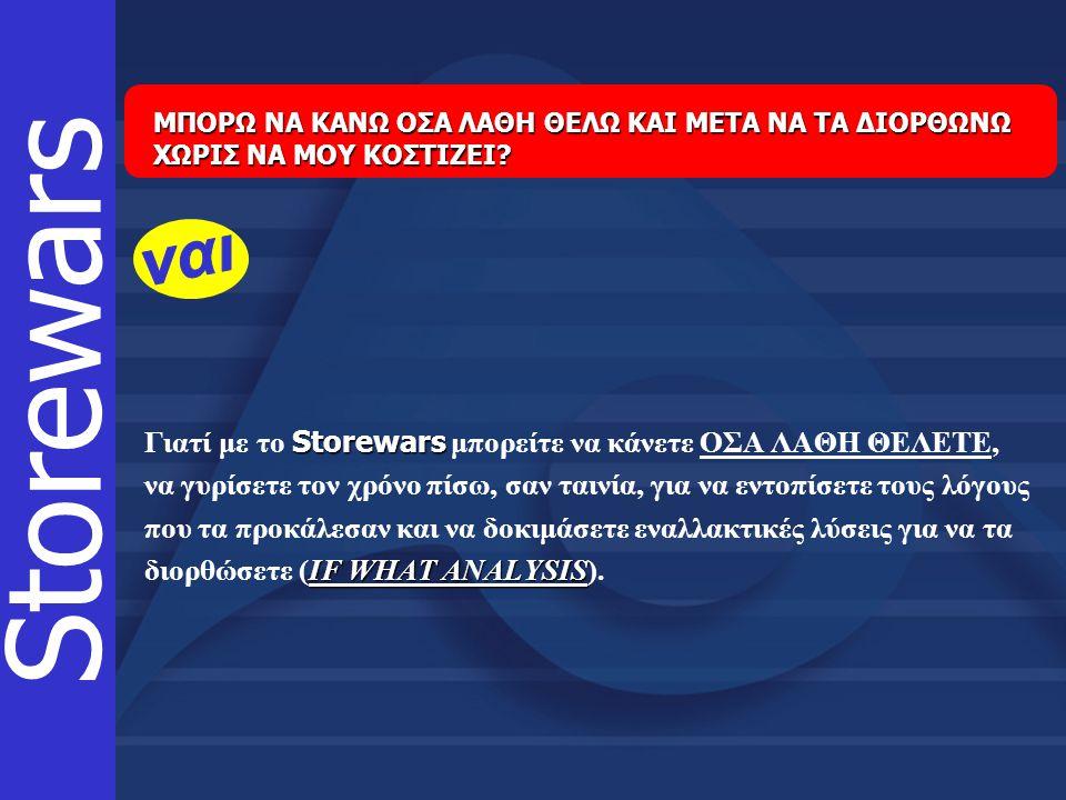 Storewars Γιατί με το Storewars μπορείτε να κάνετε ΟΣΑ ΛΑΘΗ ΘΕΛΕΤΕ, να γυρίσετε τον χρόνο πίσω, σαν ταινία, για να εντοπίσετε τους λόγους που τα προκά