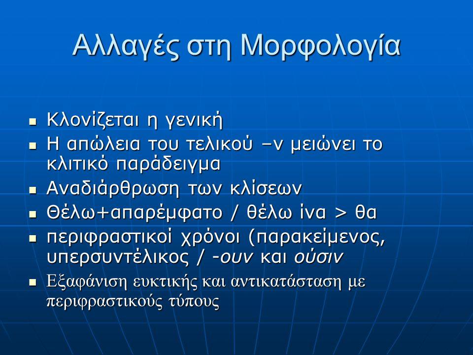 Αλλαγές στη φωνητική  Ουράνωση του /k/ σε /ts/  Εξαφάνιση τελικού -ν  Ανομοίωση κτ, χθ > χτ : πτ, φθ > φτ : σθ > στ, σχ > σκ  Ελληνικές δίφθογγοι
